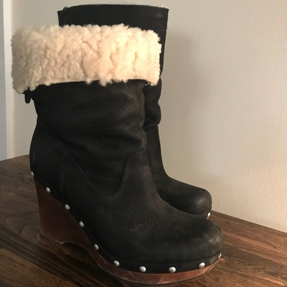 Ugg Carnegie style Black Wedge Boots with Studs